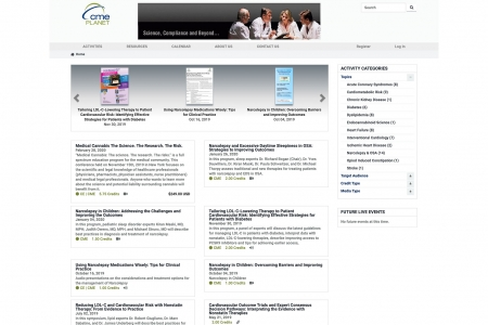 Screenshot of the CME Planet Home page