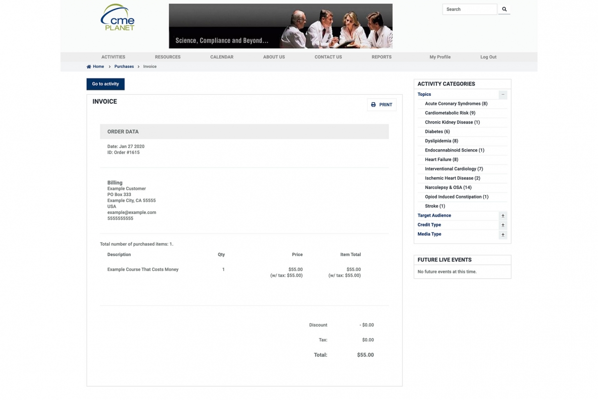 Screenshot of a CME Planet invoice page