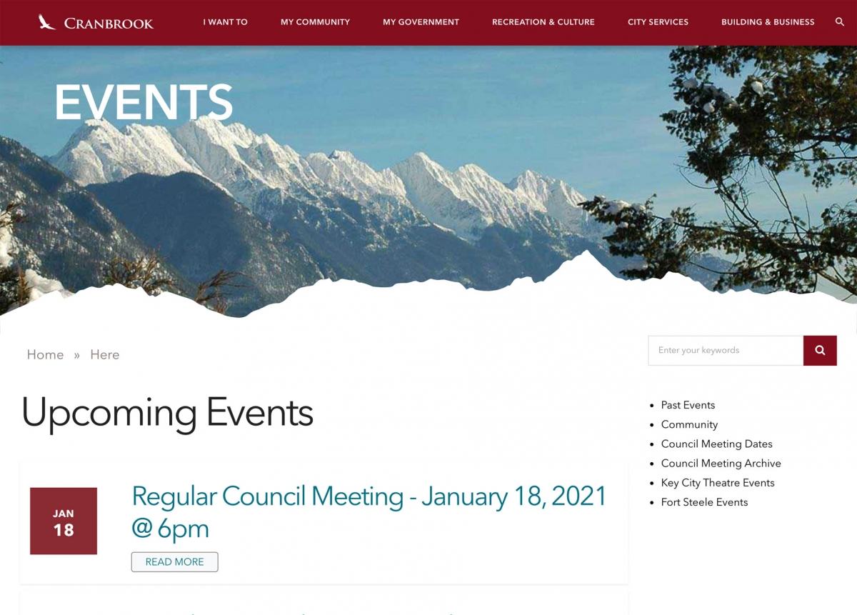 Screenshot of Cranbrook events page