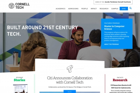 Screenshot of Cornell Tech website home page