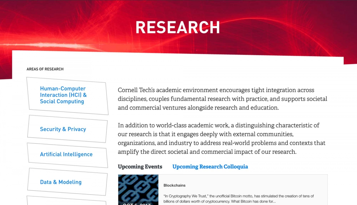 Screenshot of Cornell Tech website Research page