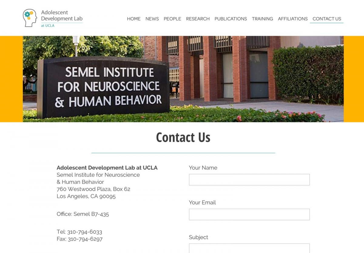 Screenshot of Adolescent Development Lab website Contact page