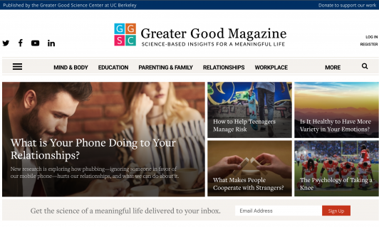 Greater Good Magazine home page screenshot