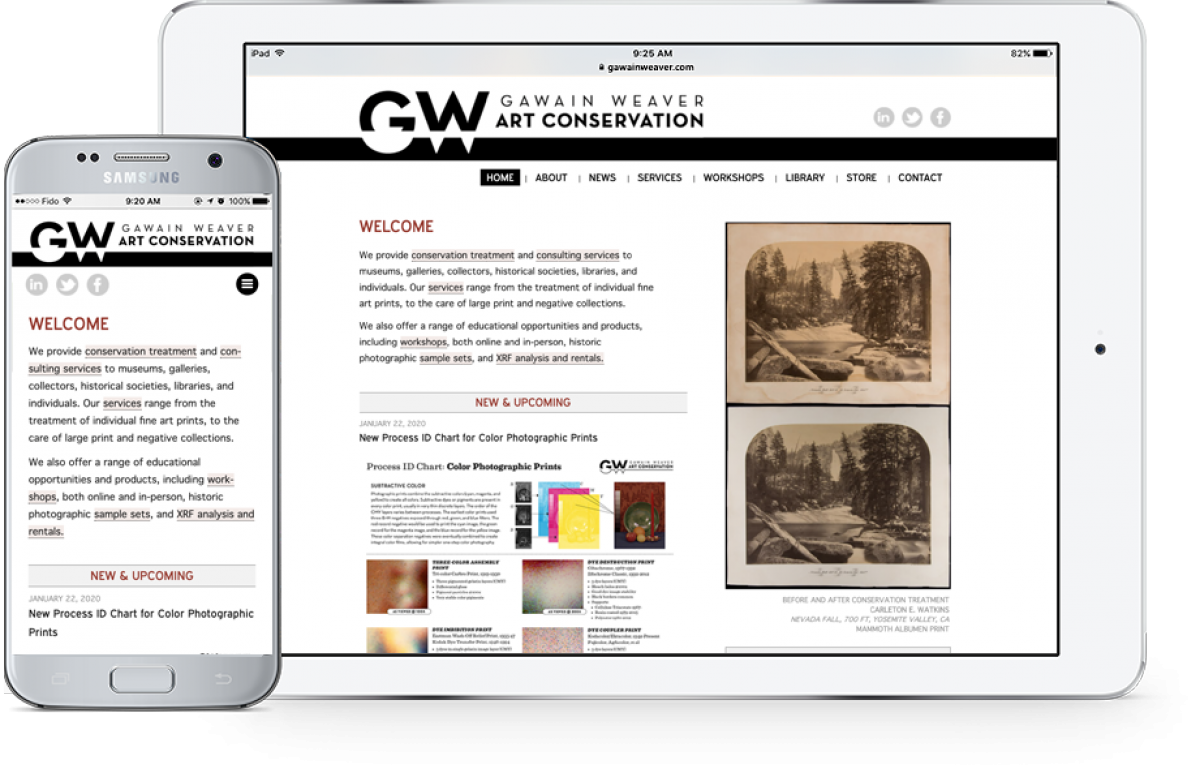 GawainWeaver.com on mobile and tablet