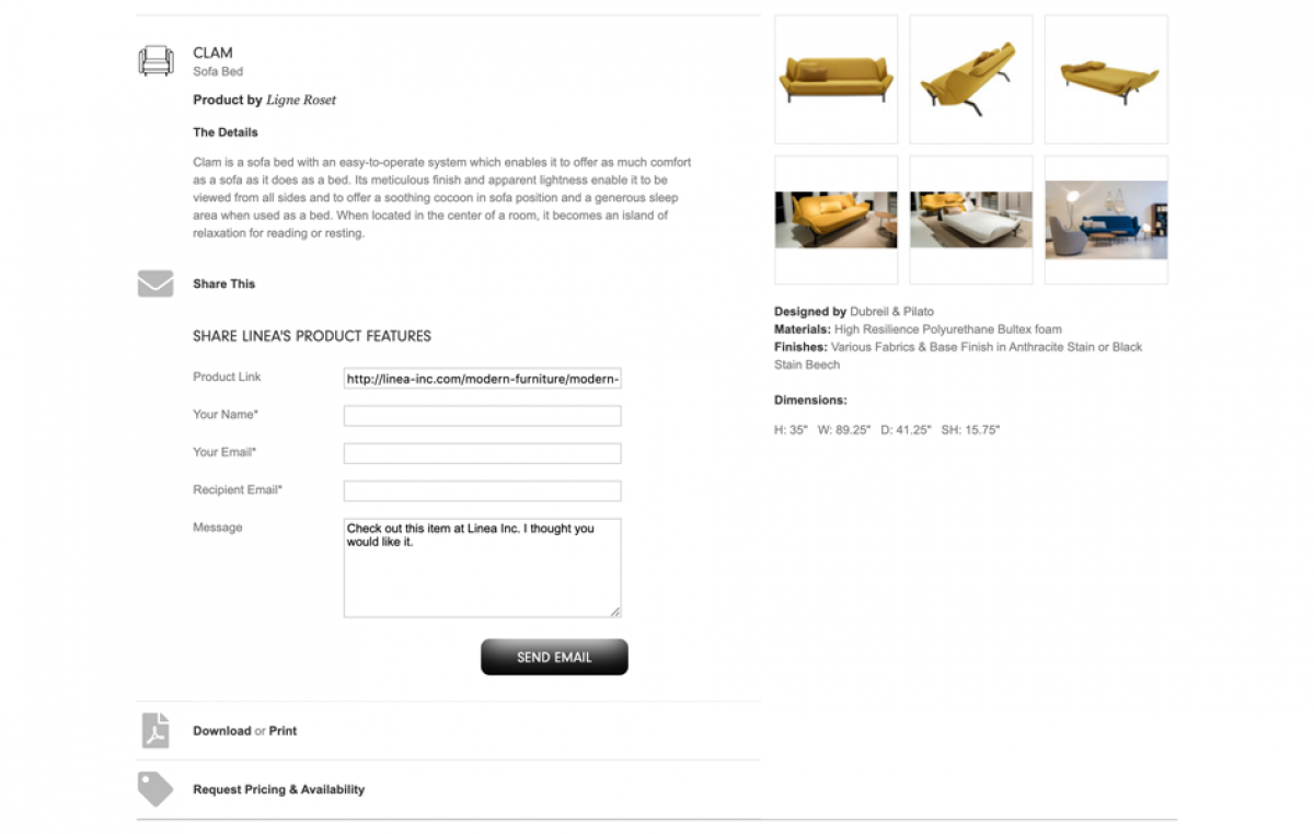 Screenshot of Linea product page