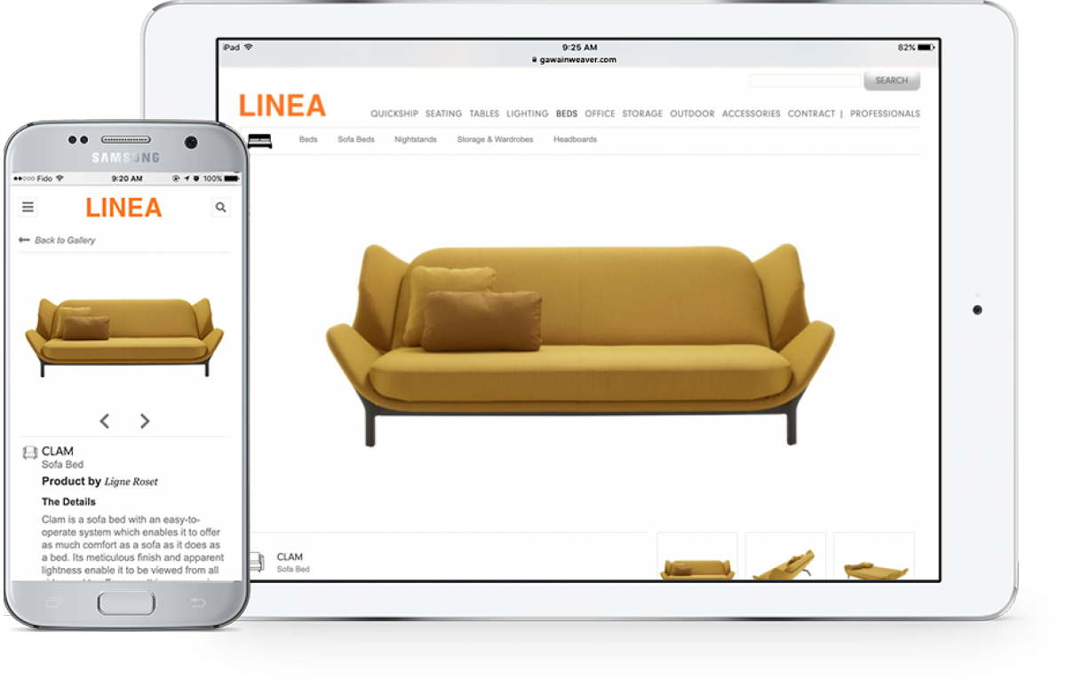 The Linea website shown on a tablet and phone