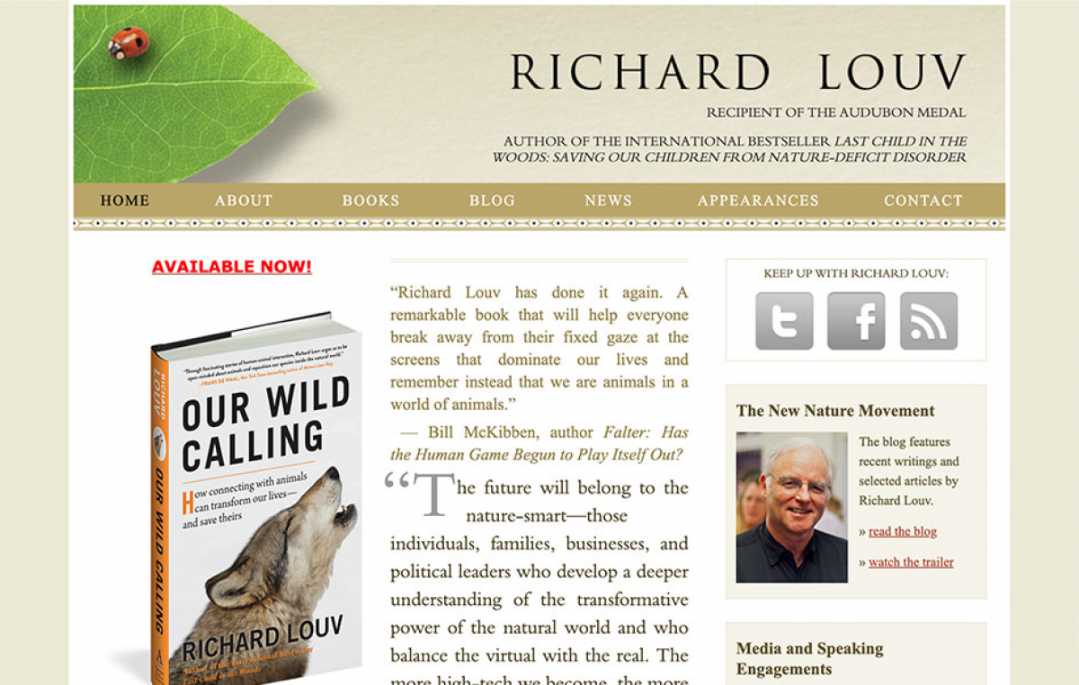 Screenshot of Richard Louv's home page