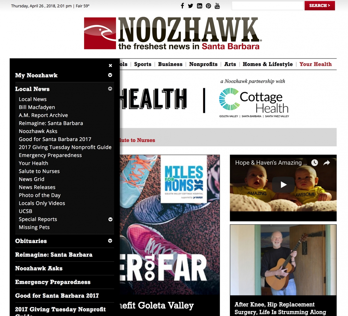 Screenshot of Noozhawk website Your Health with navigation dropdown