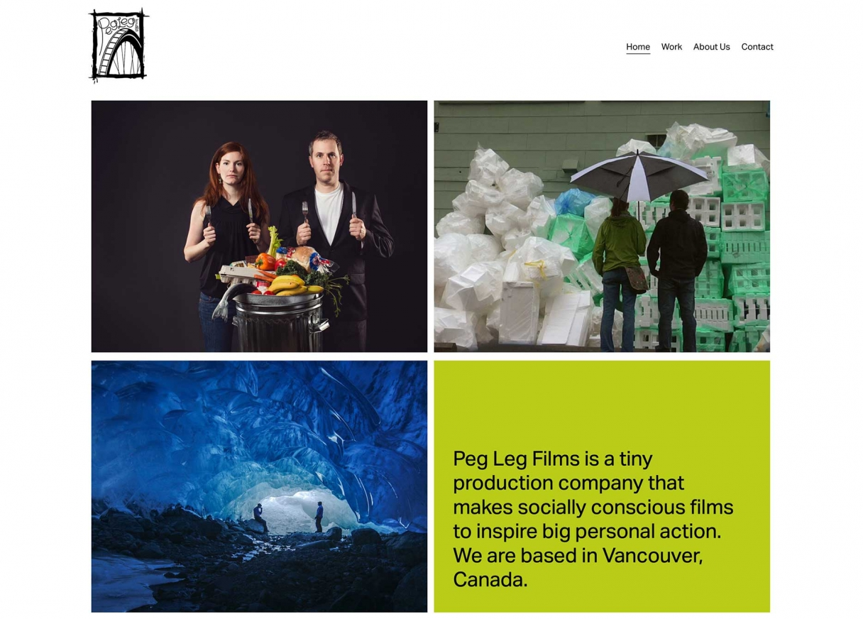 Screenshot of Peg Leg Films Website
