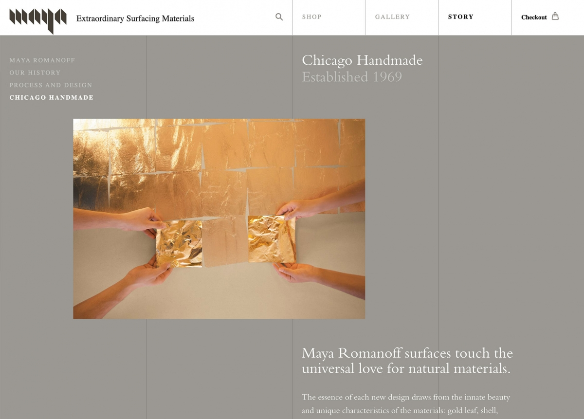 Screenshot of Maya Romanoff Website