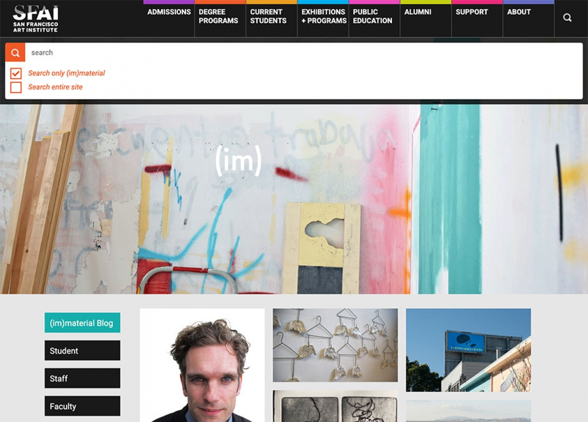 Screenshot of SFAI website (im)material blog search