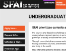 Thumbnail Screenshot of SFAI website Undergraduate page