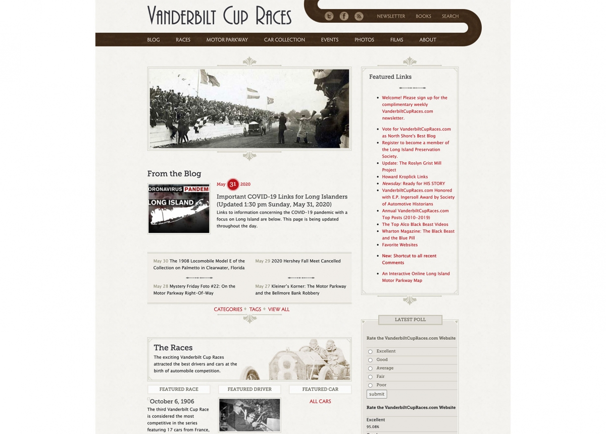 Screenshot of Vanderbilt Cup Races home page