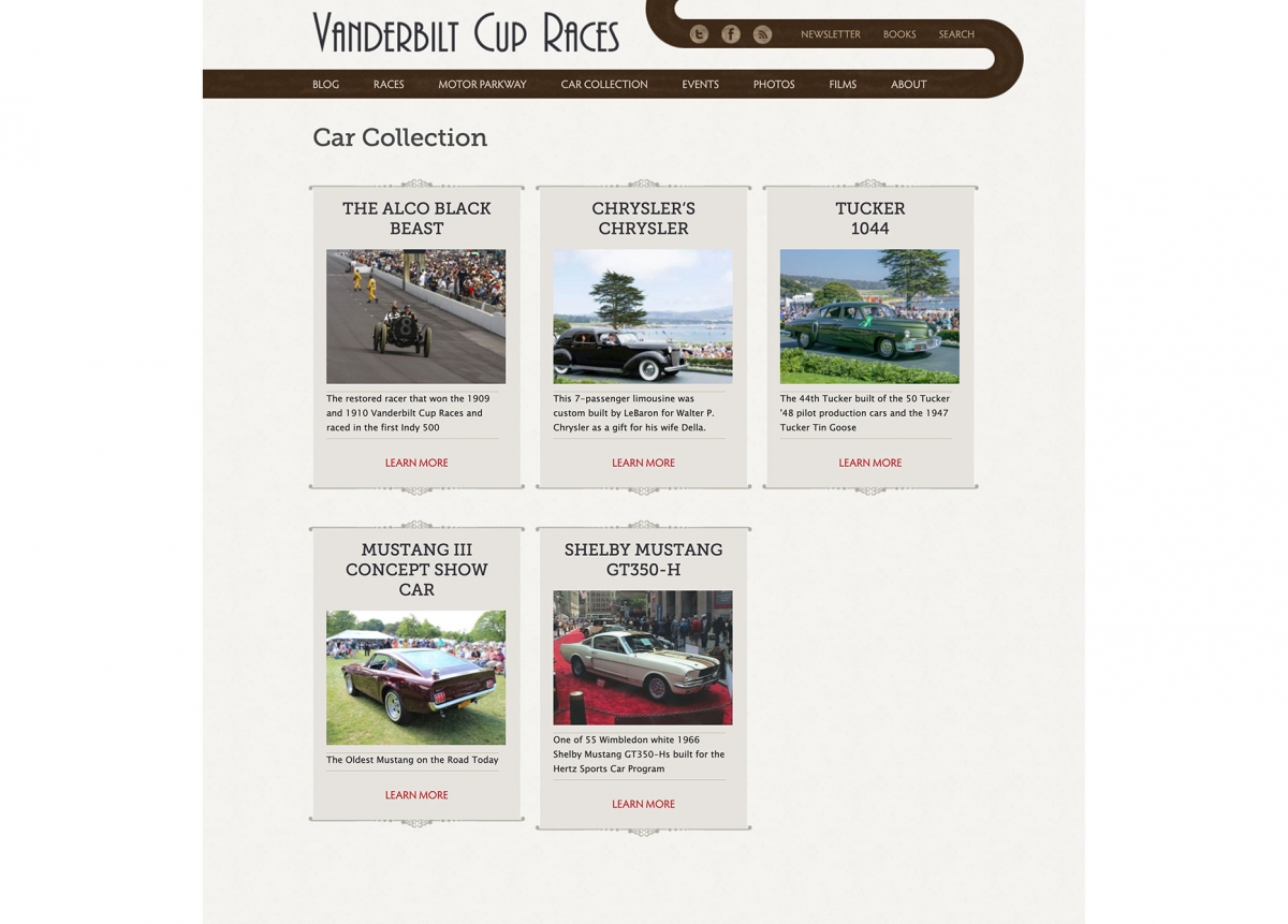 Screenshot of Vanderbilt Cup Races Car Collection page