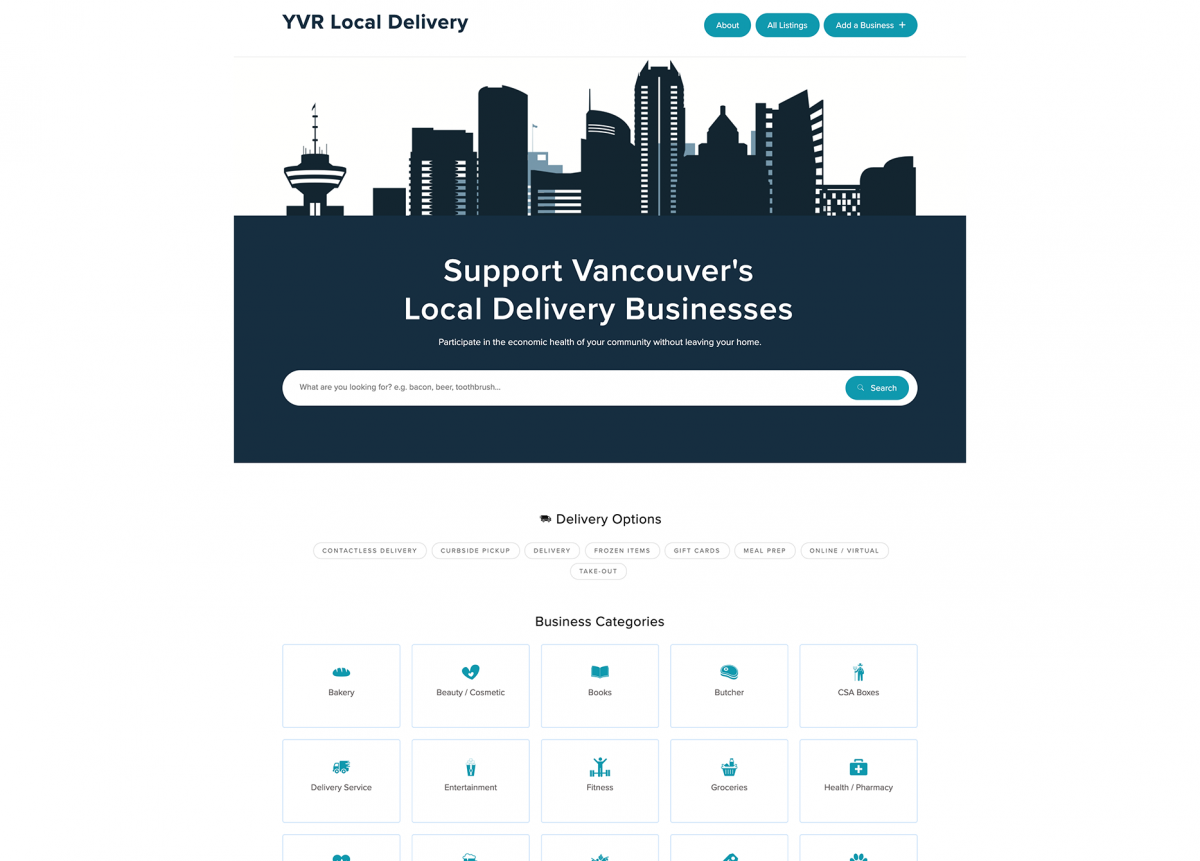Screenshot of YVR Local DeliveryHome page