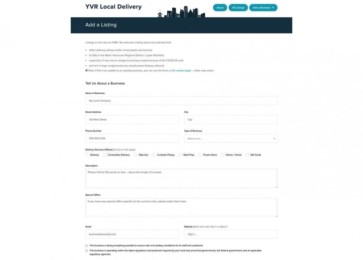 Screenshot of YVR Local Delivery Add a business page