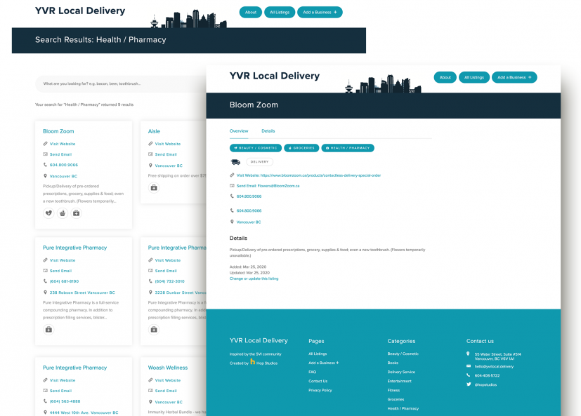Screenshot of YVR Local Delivery Listing category and listing page