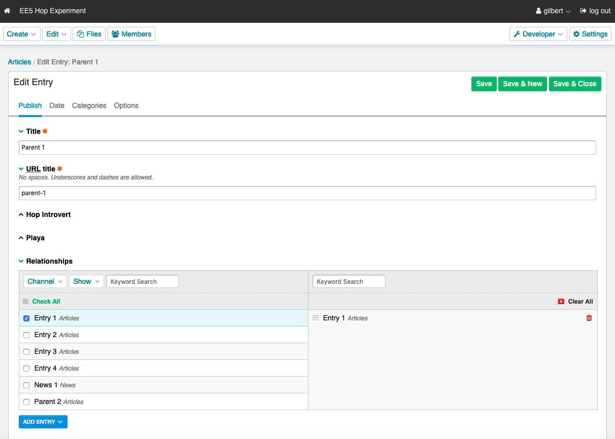 Screenshot showing an entry using the Relationships field with Entry 1 selected